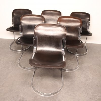 Set of 6 'model C2' dining chairs by Willy Rizzo for Cidue, Italy 1970's