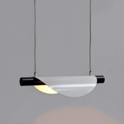 1980s hanging lamp with white brushed curved metal shade