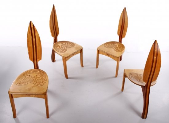 Set of 4 David Haig Dining table chairs, 1970s