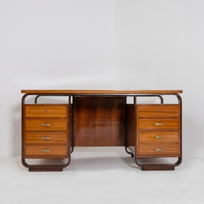 Desk by Giuseppe Pagano in brass & wood, 1940s