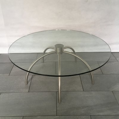Coffee table in glass & steel by Nanna Ditzel for Frederica Furniture, 1990s