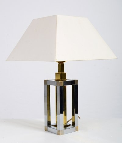 Chrome & brass table lamp by Willy Rizzo, 1970s