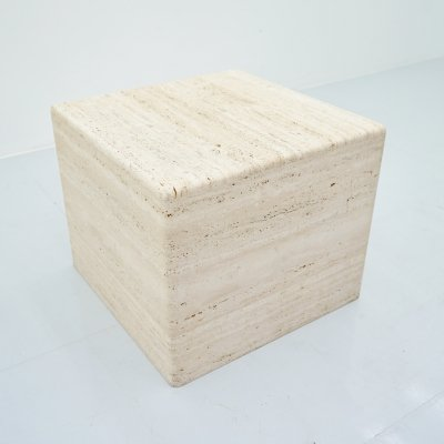 Cube Coffee or Side Table in Italian Travertine, 1970s