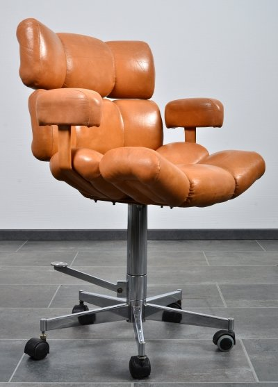 Rare adjustable barber's chair or office chair in faux leather, 1970S