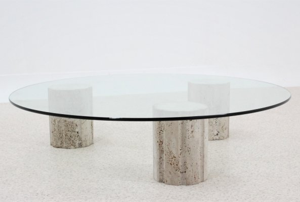 Italian marble round coffee table, 1970s