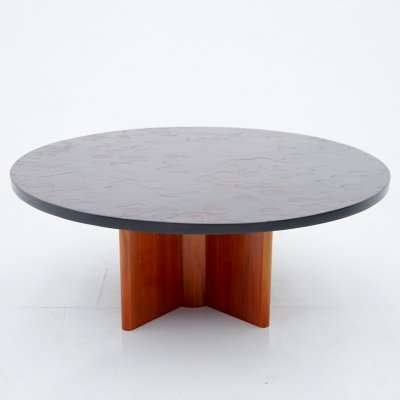 Heinz Lilienthal Circular Coffee Table with Slate Table Top, 1970s