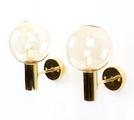 Pair of Hans Agne Jakobsson glass & smoked glass wall lights by AB Markaryd