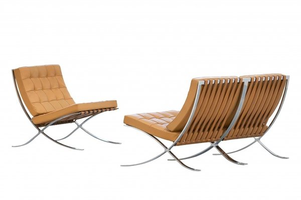 3x Barcelona Chair by L. Mies van der Rohe for Knoll International, 1962