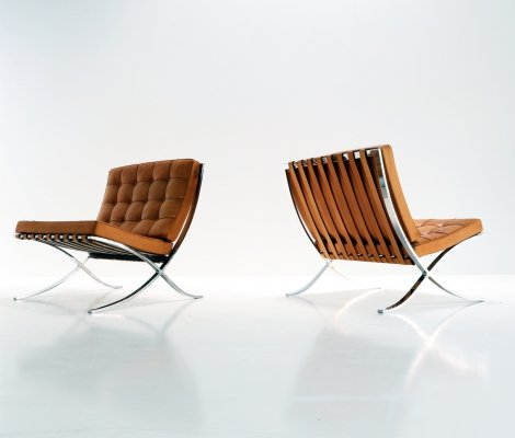 Pair of Barcelona lounge chairs by Ludwig Mies van der Rohe for De Coene for Knoll International, 1960s