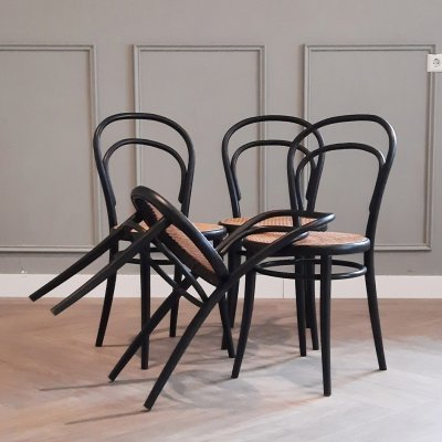 Set of 4 Black No. 14 Chairs by Ligna, 1960s