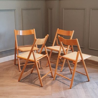 Set of 4 Folding Chairs with Rattan Seats from Habitat, 1980s