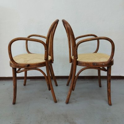 Pair of Bentwood & Cane armchairs, 1970s