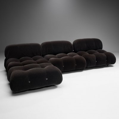 Dark 'Camaleonda' Modular Sofa in 4 Segments by Mario Bellini for B&B, Italy 1971