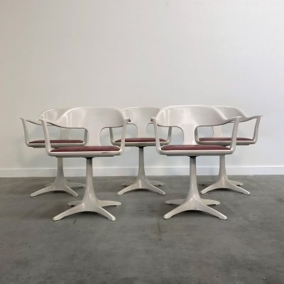 Set of five Space Age swivel chairs by Lübke, 1970s