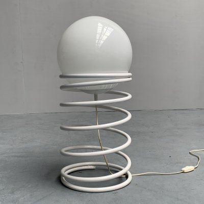 Large white Spiral floor lamp from Woja, Netherlands 1970s