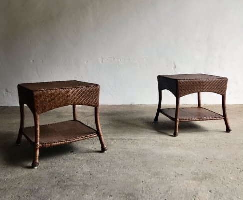 Pair of Wicker Side Tables, 1980s