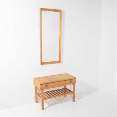 Solid pine lowboard with a mirror 'Charmant' by AB Nybrofabriken, Fröseke Sweden 1960s