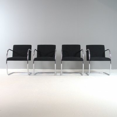 Set of 4 BRNO chairs by Ludwig Mies van der Rohe for Knoll, 1980s