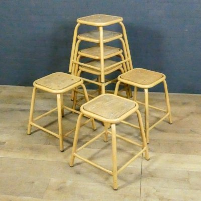 French vintage stacking stool made of wood & metal