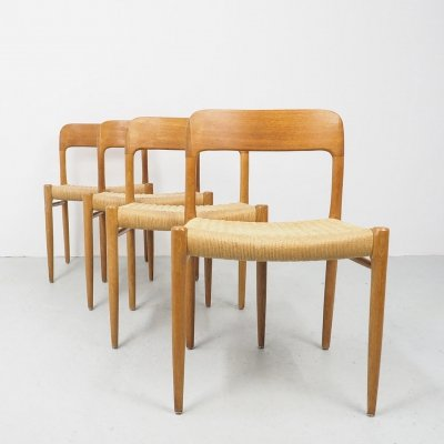 Vintage oak dining chairs 75 by Niels Otto Møller, 1960's