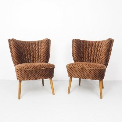 Pair of vintage velvet cocktail chairs, 1950s