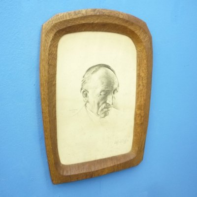 Anthroposophical Signed Oak Picture Frame, 1920s