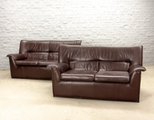Afra & Tobia Scarpa for B&B Italia Brown Leather 'Lauriana' Sofas, Italy 1970s