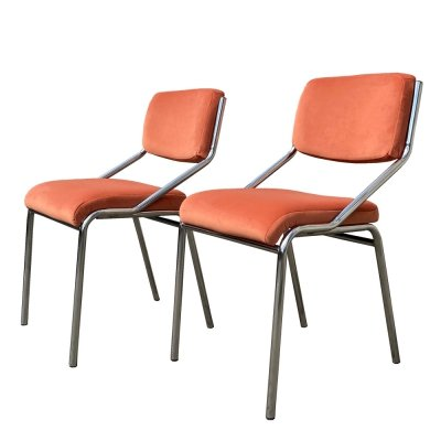 Two Light chairs on a chrome-plated metal frame & peach-colored velour, 1970s
