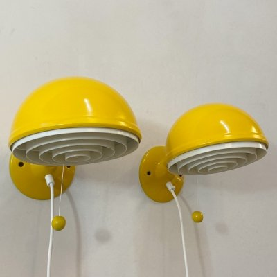 Set of 2 yellow wall lamps by Knud Christensen for Elit AB, 1970s
