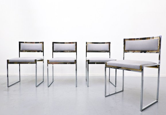 Set of 4 Willy Rizzo chairs, 1970s