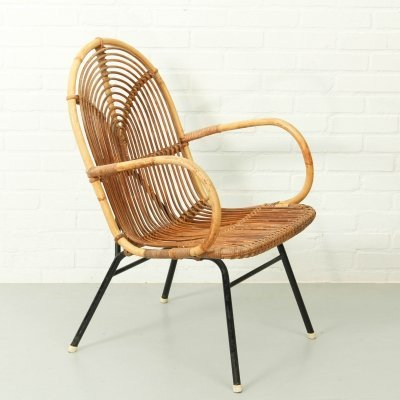 Vintage Rohe Noordwolde Bamboo/ Rattan Lounge Chair, 1950s
