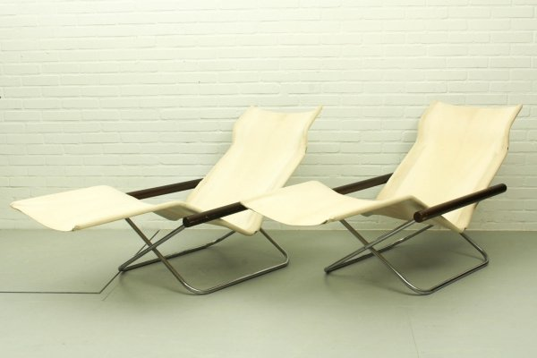 Set of 2 NY (foldable) Chaise Lounge by Takeshi Nii, Japan 1950s