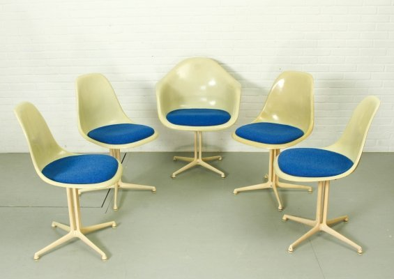 Set of 5 La Fonda Fiberglass chairs by Charles & Ray Eames for Herman Miller, 1960s