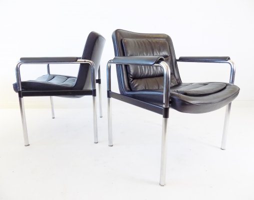 Kusch + Co set of 2 leather lounge chairs series 8400 by Jørgen Kastholm