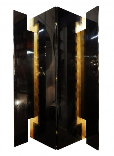 Pacific Compagnie 4-panel folding screen in black lacquered & golden leaf