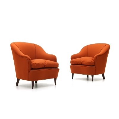 Pair of brick-colored armchairs, 1950's