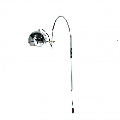 Chrome arc wall lamp by Gepo, Netherlands 1960s