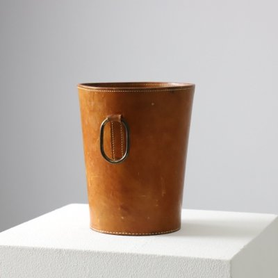 Carl Auböck paper basket in patinated leather & brass for Illums Bolighus, 1950s