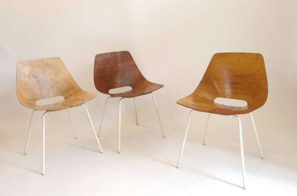 Set of 3 Tonneau chairs by Pierre Guariche for Steiner, 1955