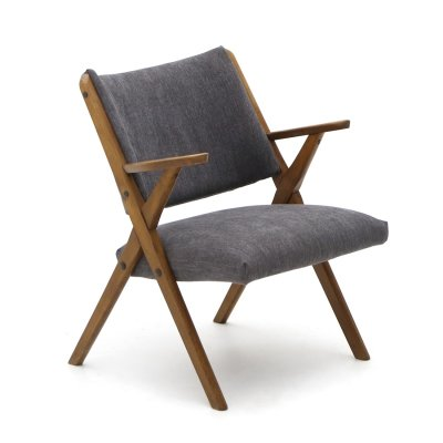 Dal Vera armchair with gray fabric, 1960's