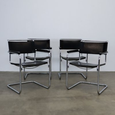 Set of 4 'S34' chairs by Mart Stam for Thonet, 1980s