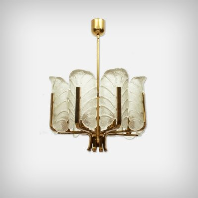 Swedish 8 Armed Brass & Glass Chandelier by Carl Fagerlund for Orrefors, 1960s