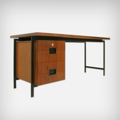 Dutch Teak & Metal Desk EU01 by Cees Braakman for UMS Pastoe, 1950s