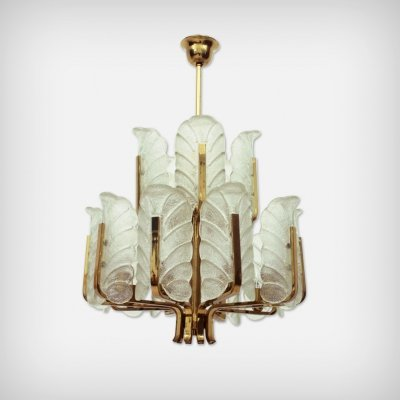 Swedish 15 Armed Brass & Glass Chandelier by Carl Fagerlund for Orrefors, 1960s