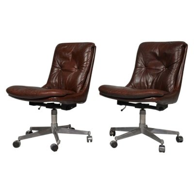 Pair of 'Gentilina' Leather Swivel Desk chairs by Strassle, Switzerland 1960s