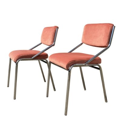Two light chairs with a chrome-plated metal frame & pink-colored velour, 1970s