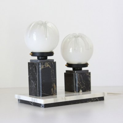 1970s desk table lamp with marble base & Murano light globes