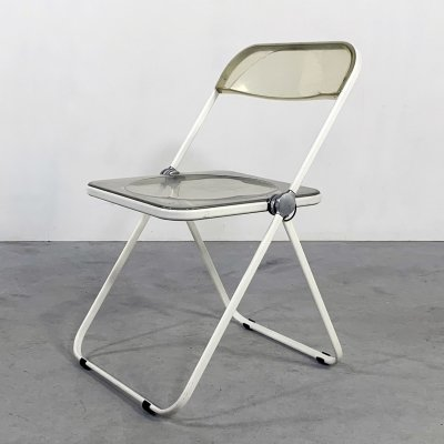 White Frame Plia folding chair by Giancarlo Piretti for Castelli, 1960s