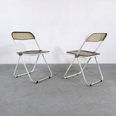 White Frame Smoke Plia folding chair by Giancarlo Piretti for Castelli, 1960s