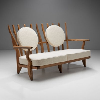 Guillerme et Chambron 'Grand Repos' Sofa with Two Round Cushions, France 1950s